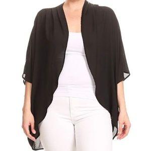 NWOT XXL black sheer kimono wrap shrug plus size